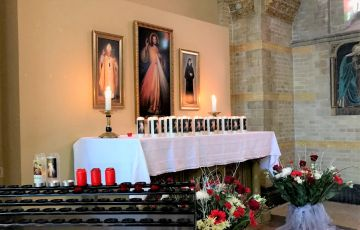 The altar of Divine Mercy, saint John Paul II and saint Faustina in the cathedral